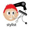 Hairstylist icon with a blow dryer, calm and styling scissors clipart