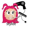 Girl hairstylist or customer with a blow dryer, comb and scissors clipart