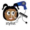 African American woman hairstylist with scissors, comb and a blow dryer clipart