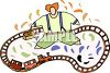Kid playing with a toy train clipart