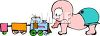 Baby playing with a toy choo-choo train clipart
