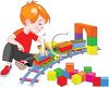 Little boy playing with toy trains, building his own railroad clipart