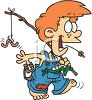 Hillbilly boy wearing overalls going fishing in the country clipart