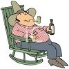 Hillbilly man sitting in his rocking chair drinking and smoking his pipe clipart