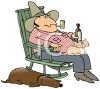 Redneck or hillbilly and rocking chair with his dog, pipe and a bottle of beer clipart