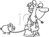 Hillbilly veterinarian with a pig on a leash clipart
