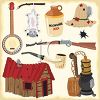 Symbols of the hillbilly way of life including a rifle, banjo, still and moonshine jug clipart