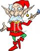 Festive Christmas elf with a paintbrush clipart