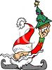 Tiny little elf holding up a Christmas tree clipart