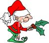 Little Christmas elf with a branch of holly leaves and holly berries clipart