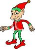 Santa's helper, a Christmas elf wearing green and red clipart