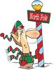 And elf, one of Santa's helpers at a sign for the North Pole clipart