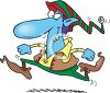 Little blue Christmas elf in a big hurry to make toys for kids clipart
