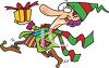Goofy Christmas elf running around with a Christmas present clipart