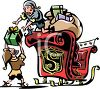 Santa's elves loading up Santa's sleigh to deliver toys to all the nice children clipart