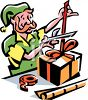 One of Santa's elves wrapping Christmas gifts clipart