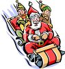Santa and elves sledding in the snow clipart