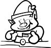 Coloring page of one of Santa's elves building toys clipart
