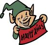 One of Santa's elves with a Happy Christmas banner clipart