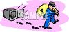 Burglar or safecracker stealing money from a safe but leaving footprints as evidence clipart