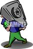 Robber stealing a safe which he is carrying on his back clipart