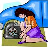 Woman changing a flat tire on her car clipart