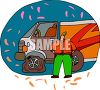 Truck driver with a flat tire clipart