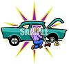 Man changing the tire on his hot rod clipart