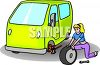 Woman changing a tire on her minivan clipart