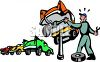Mechanic in an auto shop changing a tire clipart