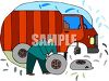 Truck driver changing tire on his truck which had a flat tire clipart