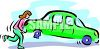 Woman lifting up one end of a car with a flat tire and pushing it clipart