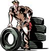 Mechanic next to a stack of tires clipart