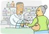 pharmacist dispensing medication to an elderly woman clipart