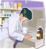 a  pharmacist filling out paperwork for  prescriptions clipart