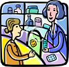 a pharmacist talking with a customer regarding her prescription medication clipart