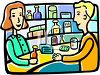 a pharmacy worker discussing a prescription with a customer clipart
