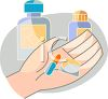 a person holding prescription pills in the palm of their hand clipart