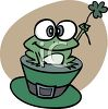cartoon clip art of a frog holding a flower and sitting on top of a green Irish hat clipart