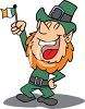 a leprechaun holding an irish flag with one hand on his hip and laughing clipart