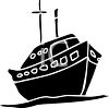 silhouette clip art of a ship sailing on the ocean clipart