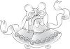 a black and white clip art of beautiful wedding bells with ribbon and bows clipart