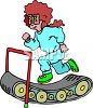 Cartoon of a woman running on a treadmill to get some exercise clipart