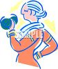 Mature woman lifting dumbbells for exercise as she tries to stay healthy clipart