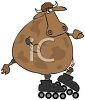 a humerous clip art illustration of a cow wearing roller skates clipart