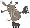 a clip art illustration of a dog wearing roller skates. He is about to fall clipart