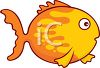 Cartoon Clipart of a goldfish swimming in the water clipart