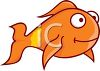 Cartoon Clipart of a goldfish with a smile on his face clipart