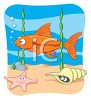 clip art illustration of a gold fish swimming at the bottom of the ocean clipart