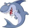 cartoon illustration of a shark smiling with his sharp teeth showing clipart